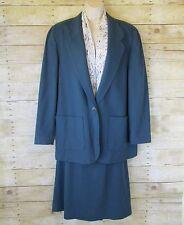 Pendleton 100% Wool Womens 16 2 piece Suit Blazer Jacket Skirt Slate Blue