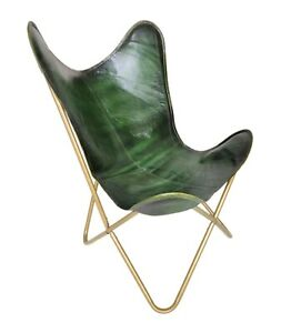 Genuine Leather Green Butterfly Chair - Handmade Living Room Decor Chair S6-92