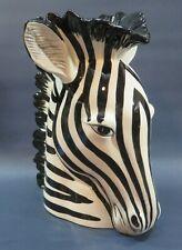 """Fitz & Floyd glazed ceramic Zebra Head Vase / Planter 9"""" t x 8"""" w black & white"""