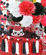Minnie Mouse Party Supplies Kit Baby Birthday Decorations White Black Red Set