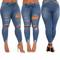 Womens Blue Slim Ripped Jeans Ladies Plus Size Denim Jeggings Size 14 16 18 20