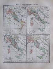 1897 Karten zur Geschichte Italiens - alte Landkarte Karte old map Lithografie