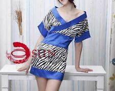 Women Sexy Lingerie Royal Blue Zebra Design Mini Dress Kimono Costumes Silk Feel