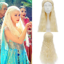 Game of Thrones Daenerys Targaryen Braid Wavy Blonde Cosplay Party Long Full Wig