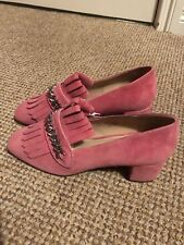 H&M Pink Suede High Heel Loafers Size 6