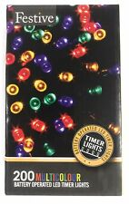 Christmas String Lights Battery Operated Timer LED Multicolor 200 bulbs New