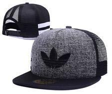 Embroidered Adidas Trefoil Snapback Grey and Black Mesh Flat Cap: One Size