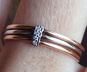 Bicolor trible RING bandring Rose White gold 14kt Russische Rotgold sz 7 1/4