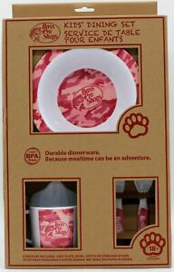 Bass Pro Shops Kids Dining Set Plate Bowl Sippy Cup Fork Spoon Pink Camo 18mo+