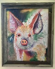 "Pig 16""x20"" Limited Edition Oil Painting Canvas Print Framed Art Home Deco"