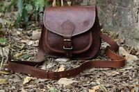 Vintage LEDER Braun Messenger tasche Schultertasche LEATHER Bag für Frauen