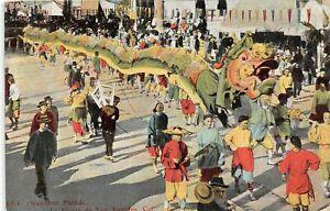H65/ Los Angeles California Postcard Chinatown Dragon Parade Floats  c1910 39