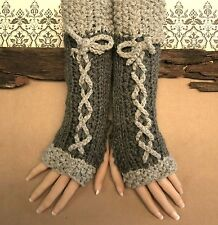Fingerless Gloves, Knitted Grey Corset Wool Glove, Armwarmers, Winter Gothic