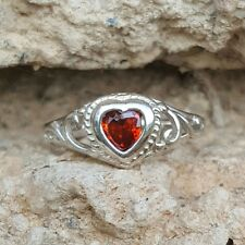 .925 Sterling Silver Ring size 4 Heart Kids Red Ruby Garnet Midi Ladies New