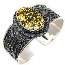 Ocean Jasper Gemstone Vintage 925 Sterling Silver Cuff Bracelet Adjustable