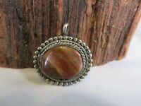 OLD PAWN Fred Harvey Vintage PETRIFIED WOOD & STERLING SILVER Pendant