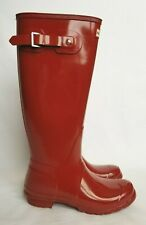 Women's NEW HUNTER Original Tall Gloss Military Red Rain Boots Size 10 US