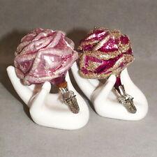 Christmas Ornament Clip Bird Glass Flower Rose Light & Dark Pink Lot of 2