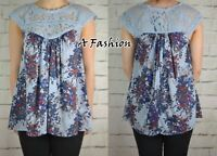 NEXT NEW LADIES FLOATY BLUE FLORAL LACE TOP BLOUSE 725 UK 6-20