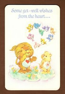 Vintage Care Bear Cousins Get Well Card 1986 Lion Birds Heart American Greetings
