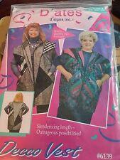 Vintage 1994's D'ates D'signs Inc Deco Vest Pattern No.  6139 Sizes 1X 2X 3X