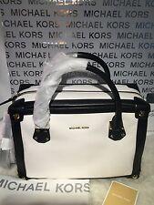 New! MICHAEL MICHAEL KORS $398 Taryn Two Tone LG Leather Satchel NWT w/Dustbag