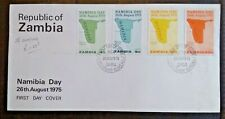1975 ZAMBIA FDC - Namibia Day 26th August Map - First Day Cover