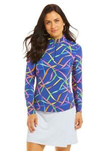 IBKUL Womens Gifted Print Long Sleeve Mock Top Golf Pullover - New 2021