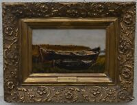 19th Century Continental School Study of Beached Boats Oil on Panel Signed G.B