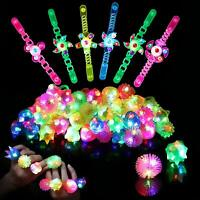 Light Up Rings LED Bracelets Party Favors for Kids Birthday 36pk Prizes Box