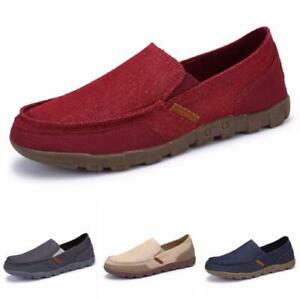 Mens Canvas Pumps Slip on Loafers Shoes Flats Driving Moccasins 4 Color Casual D