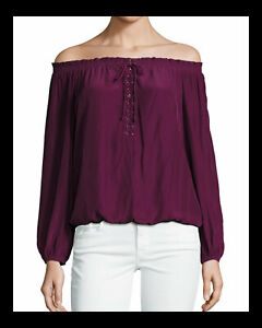 RAMY BROOK JILL OFF-THE-SHOULDER LACE-UP BLOUSE in Sangria $325 XS NEW