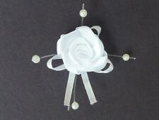 10 BEAUTIFUL WHITE 2.5CM SATIN ROSEBUDS ON SATIN BOW WITH BEADS ref B42