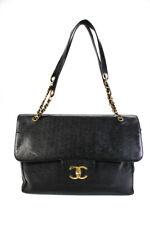 Chanel женская кожаная очень большая на плечо с клапаном сумка черный