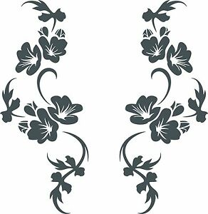 2er Set 28cm Autoaufkleber Ranke Blüten Blumen Auto Aufkleber tuning car tattoo
