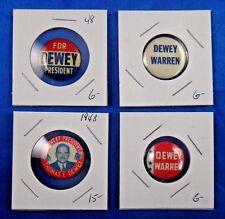 Thomas Dewey Warren Presidential Campaign Political Pin Pinback Button Lot of 4