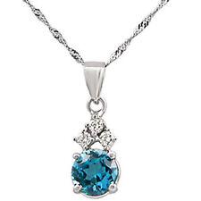 "2.00Ct Blue Topaz Round Diamond Pendant Necklace 14k White Gold 16"" Chain F VS1"