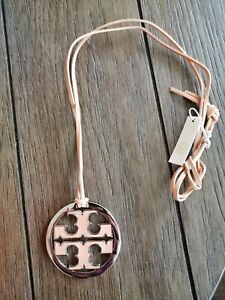 nWT Tory Burch  Logo Charm Leather Charm Necklace $178