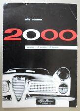 ALFA ROMEO 2000 SPIDER orig 1960 UK Mkt Sales Brochure