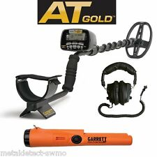 Garrett New AT Gold Metal Detector  w/HPs + Waterproof Pro Pointer AT Pinpointer