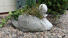 Pote de piedra fundido a mano de Cisne Decoración De Jardín Plantador Cesta De Flores Decoración ⧫ onefold-UK