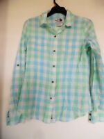 The North Face Womens Blue Green Plaid Button Down Shirt Size Small