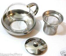 Stainless Steel Glass TEA POT Teapot w. Stainless steel Strainer filter 720ml
