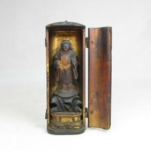 D0790: Really old Japanese small wooden Buddhist statue over 200 years ago