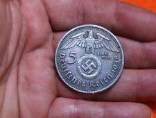 1938 PAUL VON HINDENBURG GERMAN 5 REICH MARK WWII COIN