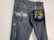 """Crown Holder Embroidered Jeans Mens Button Fly Size 36"""" x 30"""""""