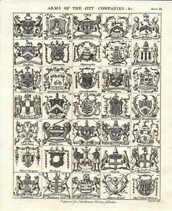 Antique engraving, Arms of the City Companies, &c. Plate III