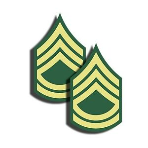 """ARMY Rank Sergeant First Class Stickers Military Dye Cut Decal 2 Pack 3"""" tall"""