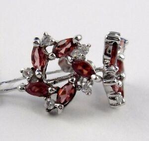 K58 Granat Ohrstecker Navette Schliff 0,49 ct 925 Silber Kranz Design