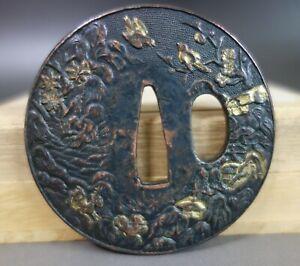 Tsuba guard Ume warbler Spring Japan Samurai gold inlay 3 layer sword fitting